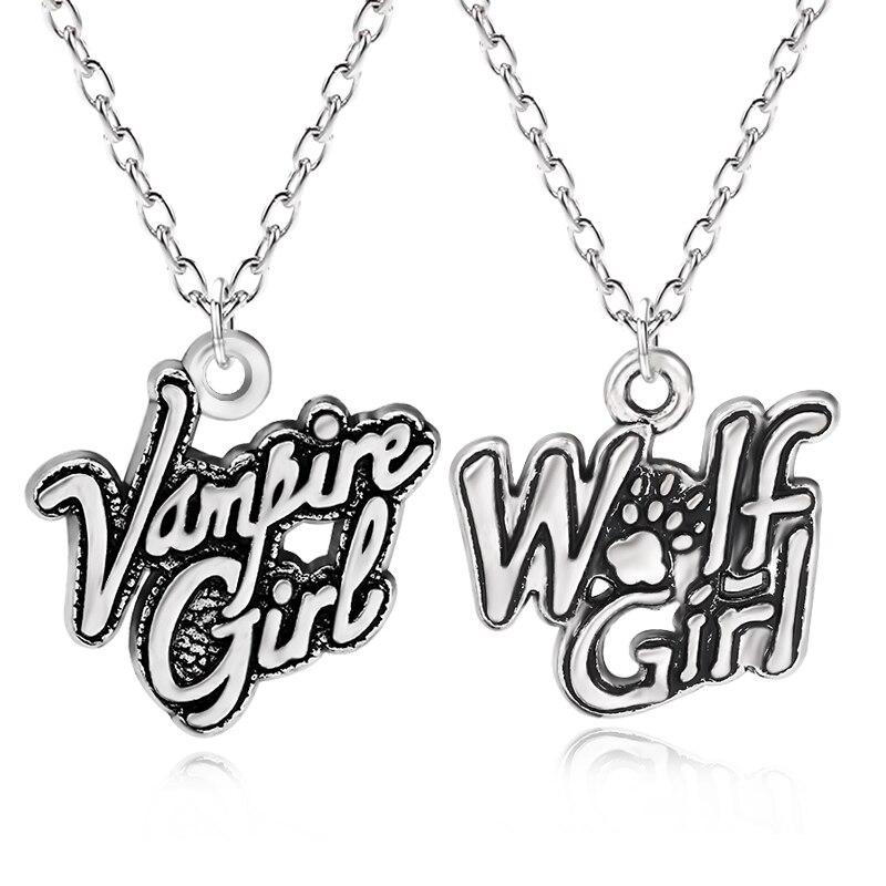 Vintage vampiro menina lobo menina encantos pingente punk cão pata feminino gargantilha colar para crianças inspiradoras jóias colar colar transporte da gota