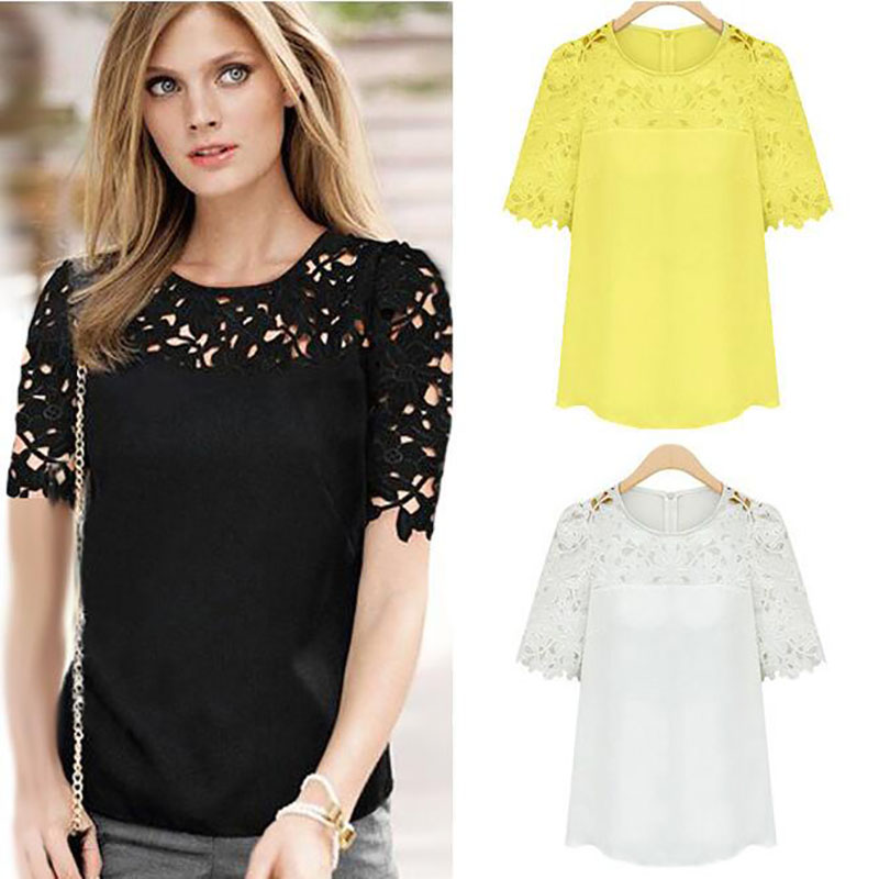 2017 Women Short Sleeve Blouse Tops Lady Hollow Out Lace Sexy Floral Blouses Yellow Black Summer Casual Women Tops Plus Size