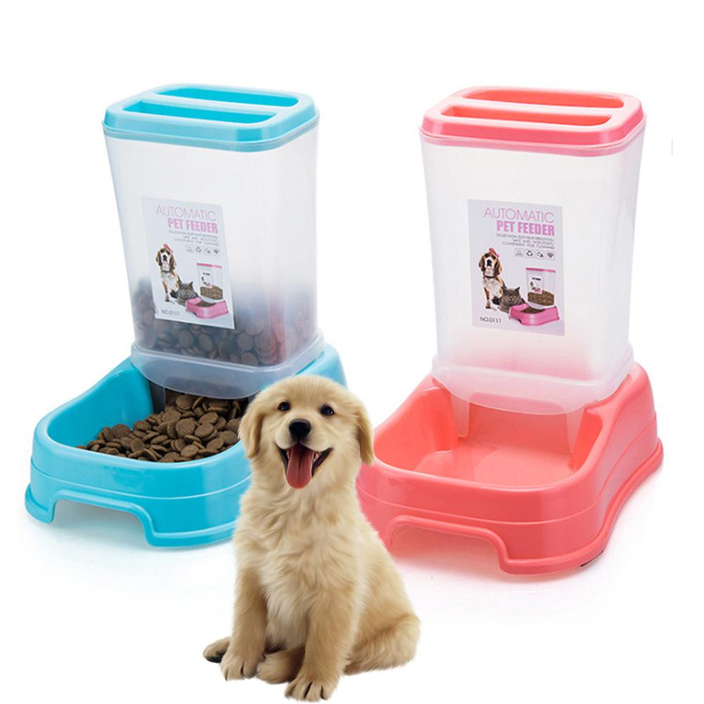 Yfashion Dish-Dispenser Pet-Automatic-Feeder Feeding Cats Food-Bowl For Dogs Removable
