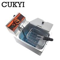 مقلاة عميقة كهربائية من CUKYI للمطبخ للأغراض التجارية ، ماكينة قلي الرقاقة ، سلة طباخ مع بطاطس مقلية ، مقلاة عميقة 6 لتر 2 كيلو وات-في مقلاة كهربائية عميقة من الأجهزة المنزلية على