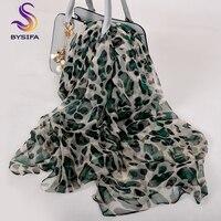 [BYSIFA] новый леопард для женщин шелковый шарф зима Бежевый Зеленый шелковые длинные шарфы 100% Дамы бренд тонкий атлас средства ухода за кожей ...
