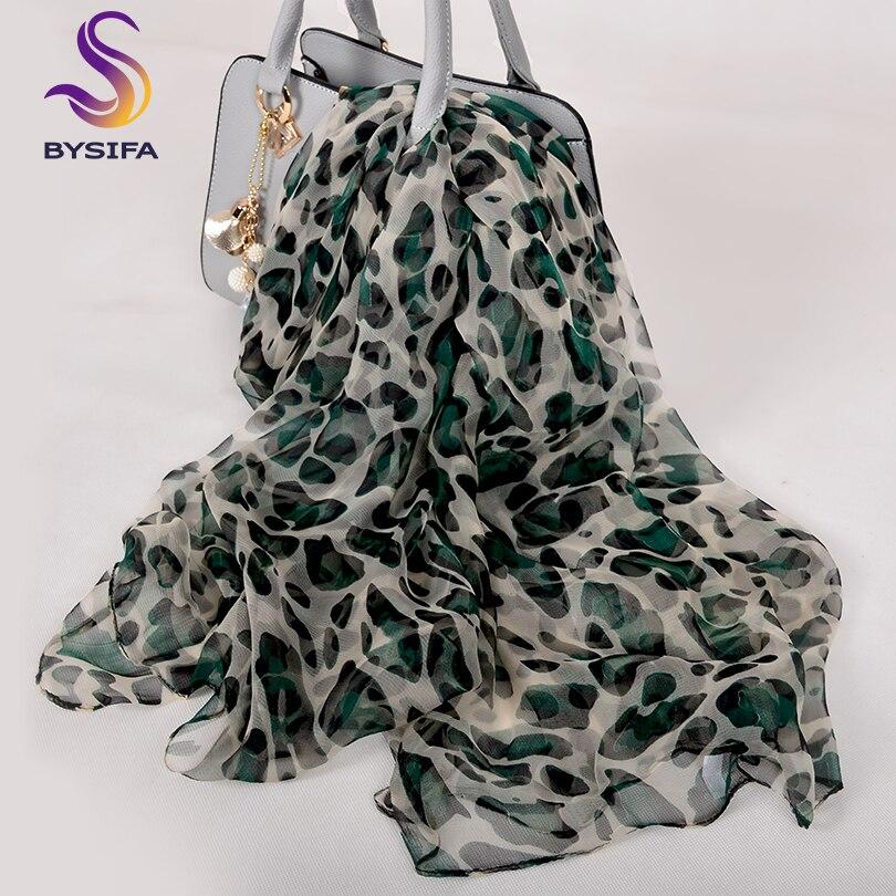 [BYSIFA] New Leopard  Women Silk Scarf Winter Beige Green 100% Silk Long Scarves Ladies Brand Thin Satin Silk Neck Scarf