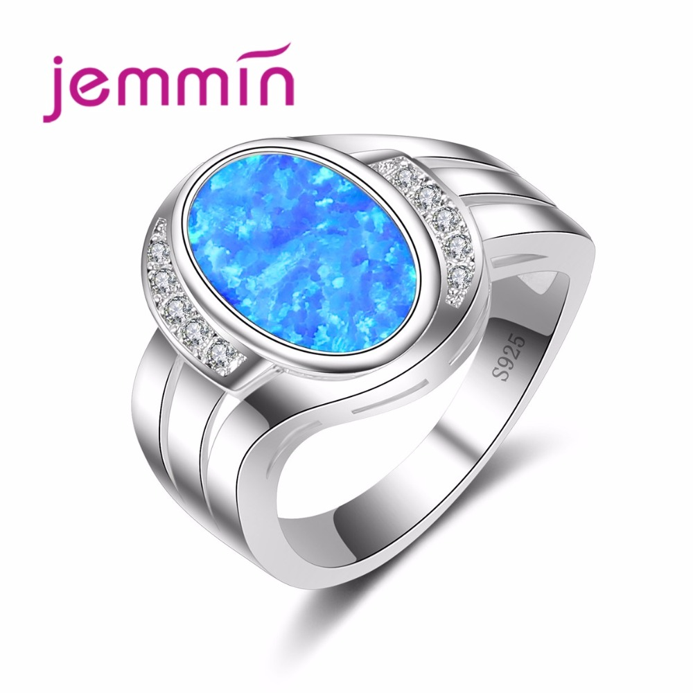 Jemmin 925 Sterling Silver Fashion Wedding Rings Blue Fire Opal Ring Male Female Jewelry Rings High Quality Fine Jewelry