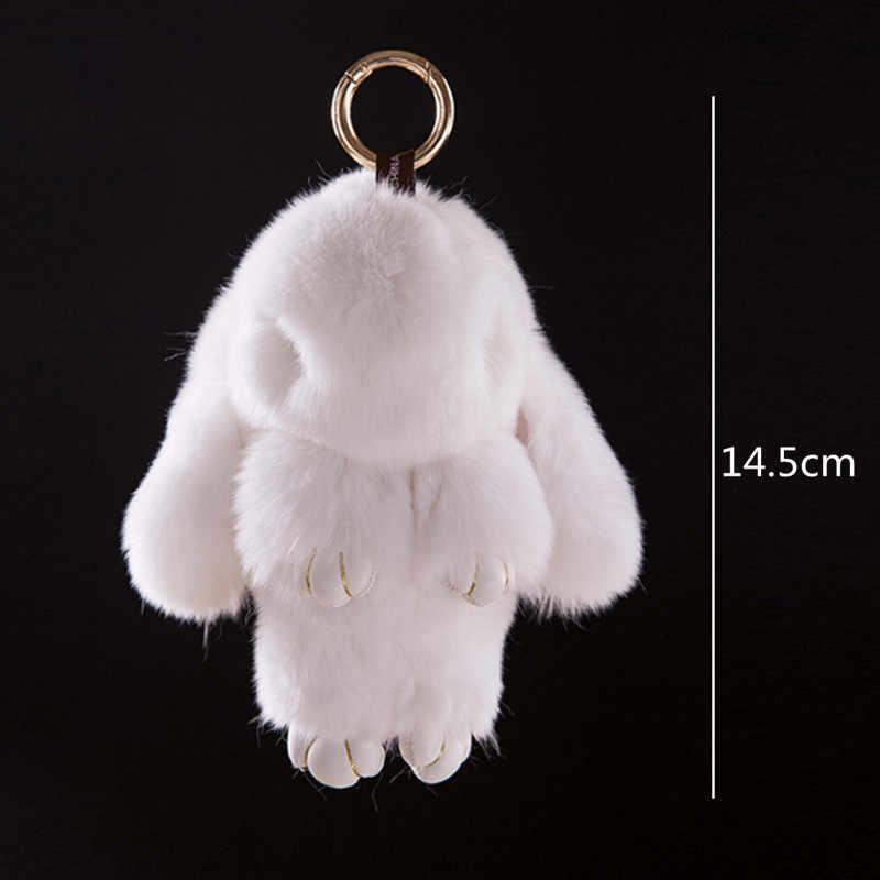 Fantasia & Fantasy Animal Bonito Do Falso Pele De Coelho PomPom Keychain Trinket Mulheres Saco Boneca de Brinquedo Coelho Chaveiro Carro Chaveiro monstro