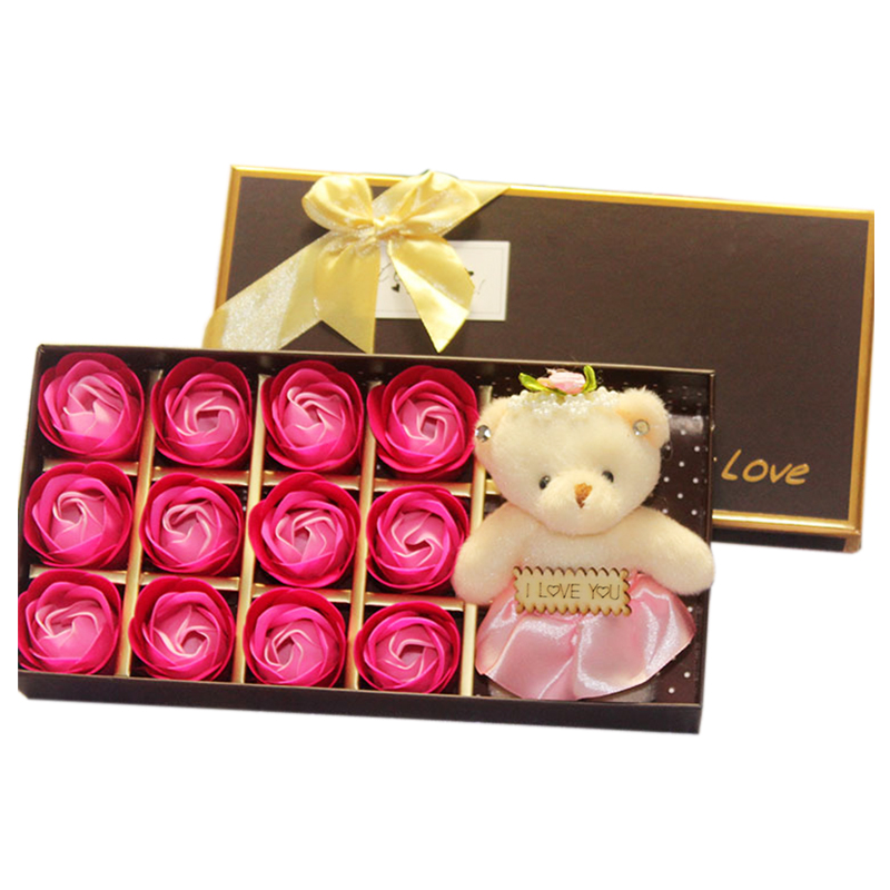 12pcs/Box Romantic Rose Soap Flower With Little Cute Bear Doll Great Valentine's Day Gifts/ Wedding Gift/Birthday Gift
