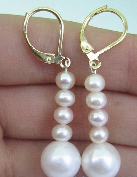 Free shipping AAA 4-5mm 9-10mm South Sea White Pearl Earrings 14 Gold