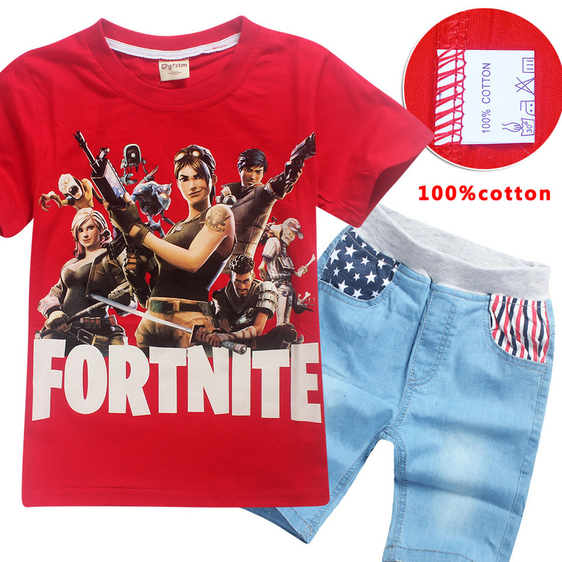 Boys & Girls Summer Clothing 100% Cotton T-Shirt + Jeans Set Game Fortnite Printed T-Shirt Cosplay Kids Short Sleeve