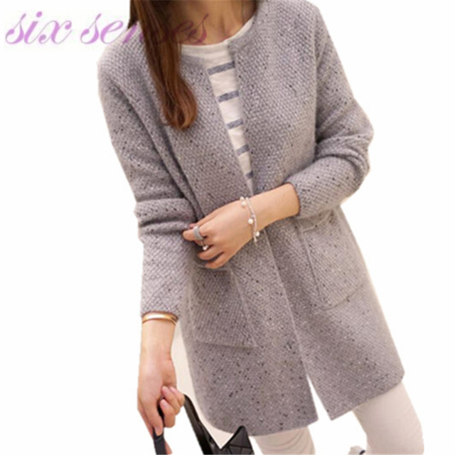 7844b24185089 2016 New autumn winter Women Casual Long Sleeve Knitted Cardigans Crochet  Ladies Sweaters Fashion Tricotado Cardigan Top