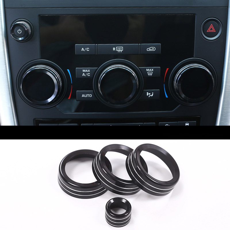 Black Aluminum Volume And Air Conditioning Knobs Trim For Land Rover Discovery Sport 2015 2016 2017