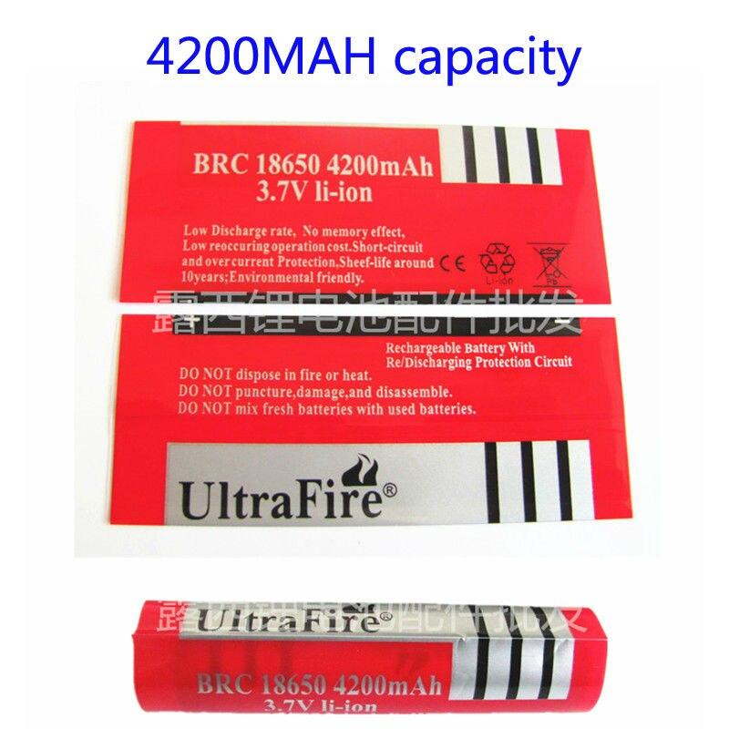 50 pcs 18650 bateria de lítio 4200 MAH da bateria DO PVC película de psiquiatra do calor manga retráctil capacidade da pele vermelha filme termoencolhível rótulo