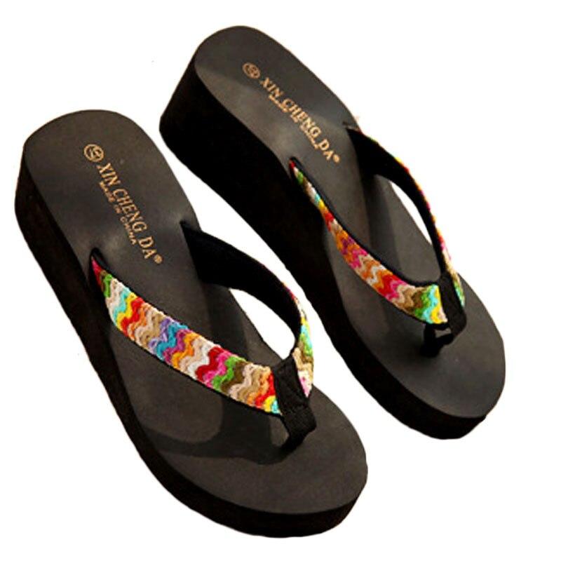 Flip Flops Women Platform 2019 Summer Shoes Platform Solid Color Beach Anti Skidding Zapatillas Casual Verano