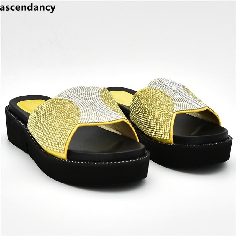 Talons Arrivée Slingbacks yellow Nouvelle Décoré Strass Parti Green or black Pompes Luxe Dames De Femmes Sandales Chaussures Avec thsrQdC