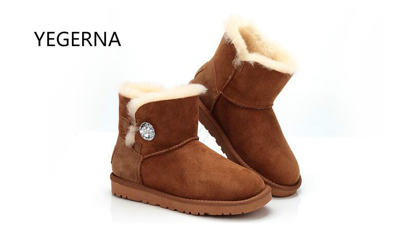100% Natural Fur Winter Boots Genuine Sheepskin Leather Women Snow Boots  Warm Wool Ankle Boots Winter Shoes 2016 australia genuine sheepskin leather women snow boots 100% natural fur winter boots warm wool ankle boots