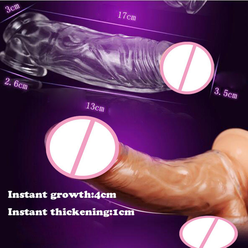 2016 Newest Adult Transparent Big Heads Crystal Penis Sleeve Ring Dildo Spike Condom Special Condoms Male Female Sex Product