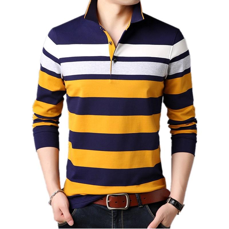 Male Long Sleeve Pullover Men Polo Shirt Brand Youth England Striped Polos Para Hombre Cotton Casual Silm Camisa Polo Masculina-in Polo from Men's Clothing    1