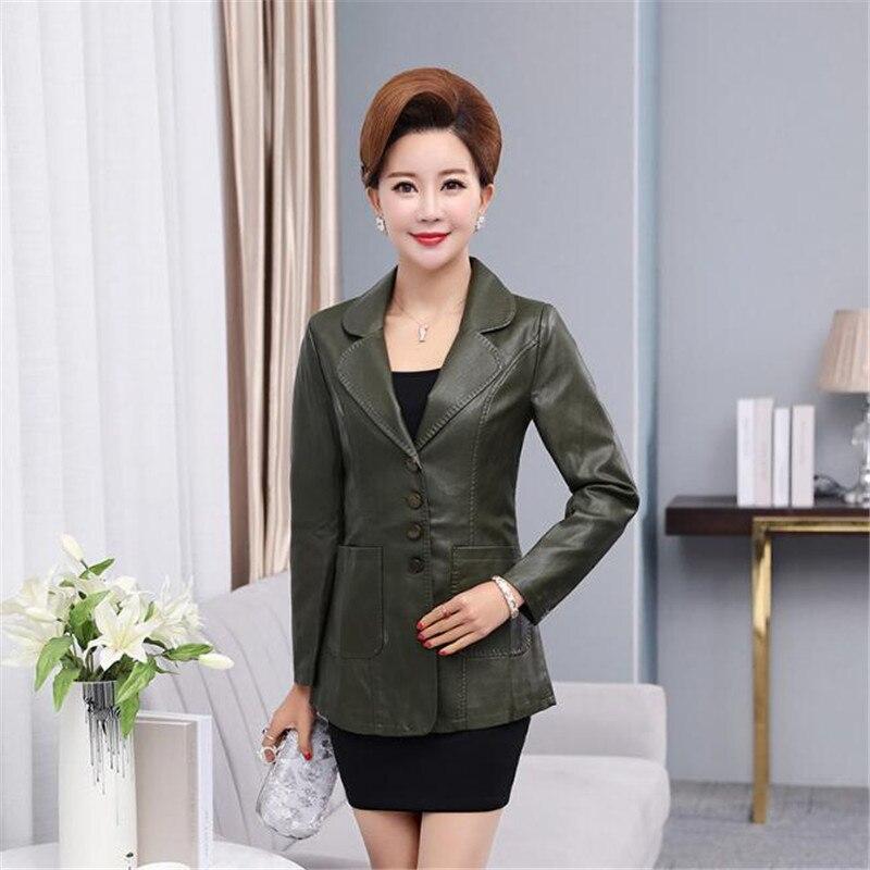 Plus size XL 6XL Women Leather Jacket Autumn Winter Leather Clothing Female Outerwear Long Slim Sheepskin