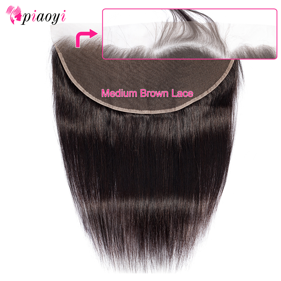 Piaoyi Brazilian Straight Hair HD Transparent Lace Frontal Closure 13*6 Swiss Lace Frontal Human Hair Closure Ear To Ear(China)