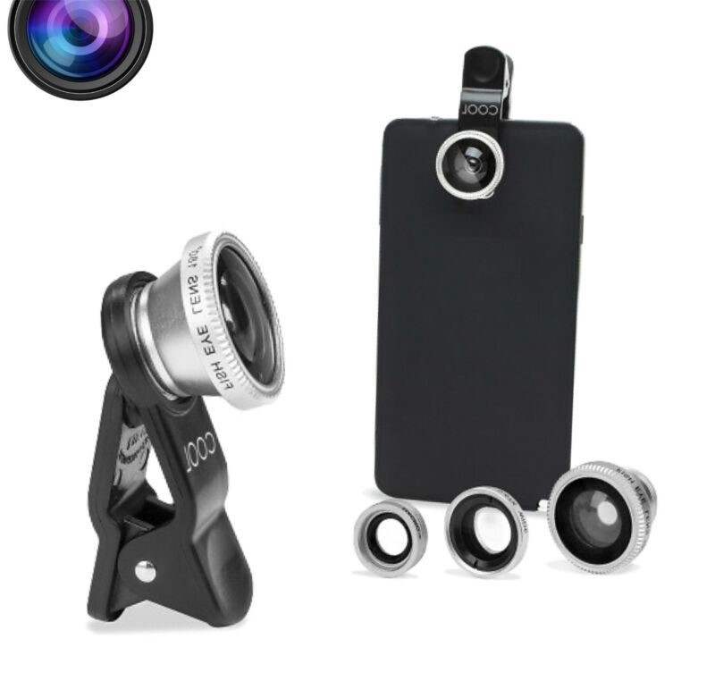 2019 3 in1 Fish Eye Wide Angle Macro Camera Clip-on Lens For iPhone Samsung Universal Cell Phone