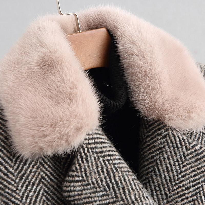 Réel Col Vêtements Slim Femme 2018 Color Zt942 Picture Fourrure Laine Hiver Femmes De Vison Automne Manteau Veste Vintage Coréen qX8CF