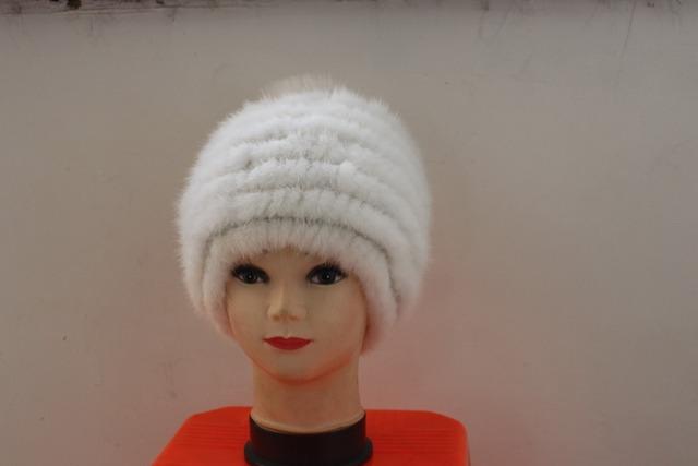 Señora de moda de cuero Natural de piel de visón sombrero con la bola