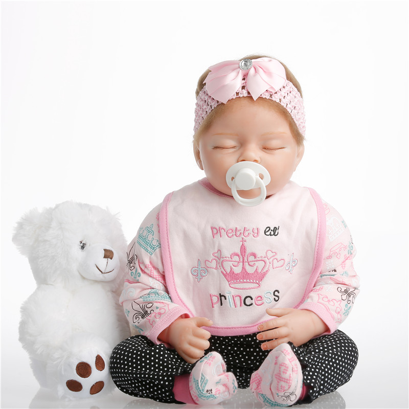 SanyDoll 22 inch 55 cm baby reborn Silicone dolls, lifelike doll reborn Black and white polka dot pants cute sleep doll