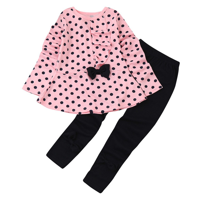 e0e184dc0c473 baby clothes overalls children's winter tracksuits for girls sport suit  kids costume Dots Print Bow Top T shirt Pants 2pcs set-in Clothing Sets  from ...
