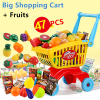 47 개 유치원 플라스틱 조립 미니 슈퍼마켓 쇼핑 카트 척 play toys 세트 과일 야채 선물