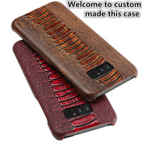 JC12 Ostrich Foot Pattern Genuine Leather Back Case For Huawei Honor Play Phone Case For Huawei Honor Play Leather Cover