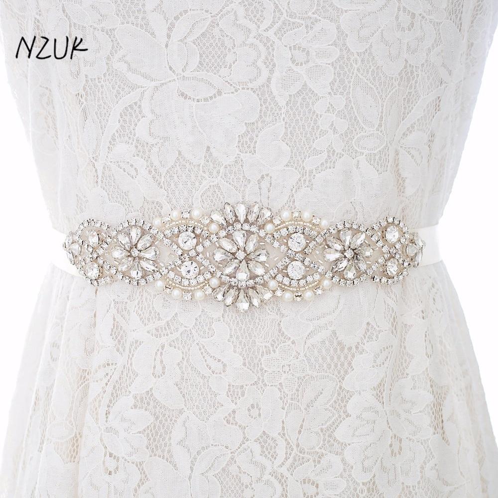 Rhinestones Bridal Belt Crystal Pearls Wedding Belt Silver Diamond Bridal Sash For Wedding Accessories Belt Y104S