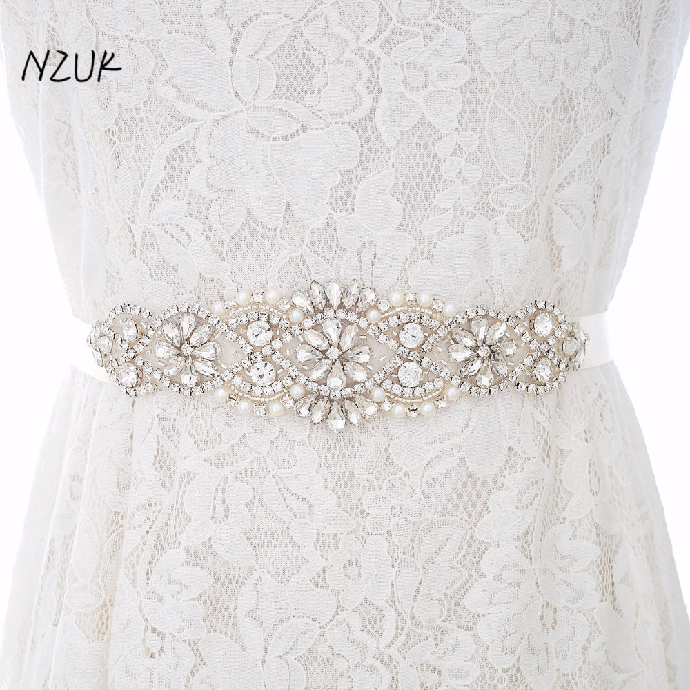 Rhinestones Bridal Belt Crystal Pearls Wedding Belt Silver Diamond Bridal Sash For Wedding Accessories Belt Y104S