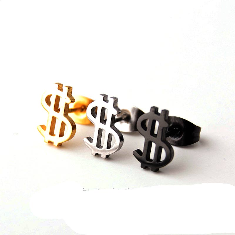 2 pieces Gold Silver Black Stainless Steel US Dollar $ Stud Earring Gift Jewelry