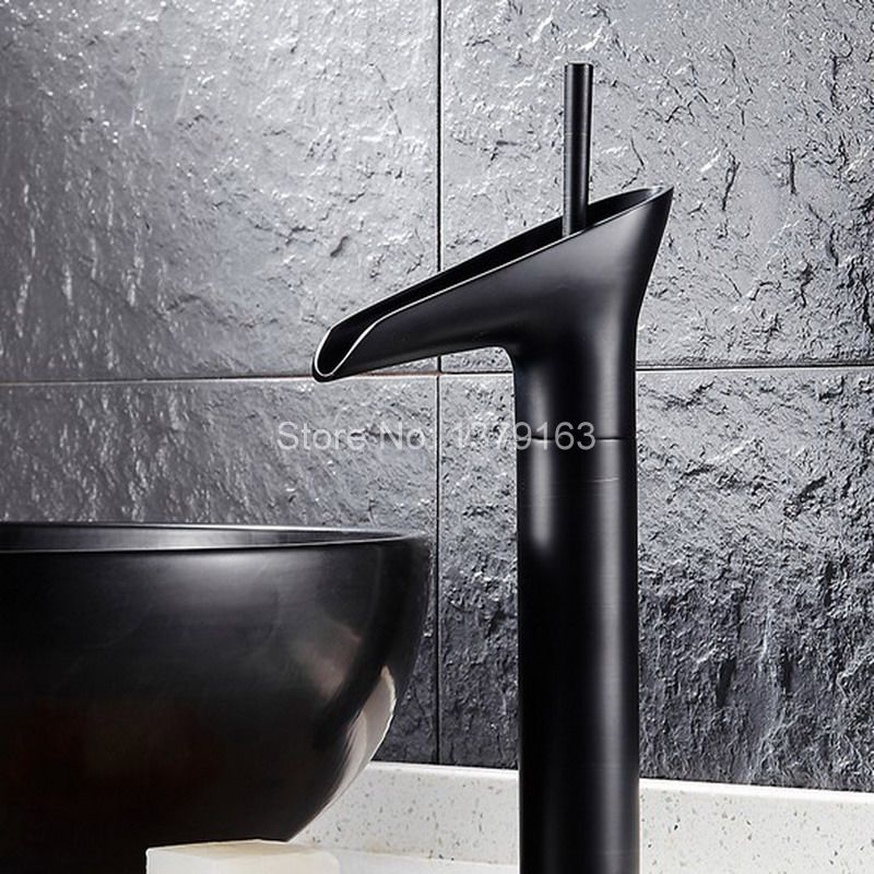 Black Oil Rubbed Brass Single Handle Lever Bathroom Single hole Deck Mounted Waterfall Faucet Vessel Sink Basin Mixer Tap ahg034 black oil rubbed brass single handle bathroom vessel sink basin mixer tap faucet cnf227