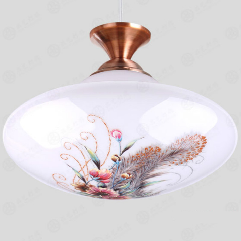 Vintage Classical European Hand Painted Glass Led E27 Pendant Light For Dining Room Bar Aisle 23cm 80-265v 2048 hand painted chinese style jingdezhen ceramic ceiling light for living room dining room aisle the entrance bulb included