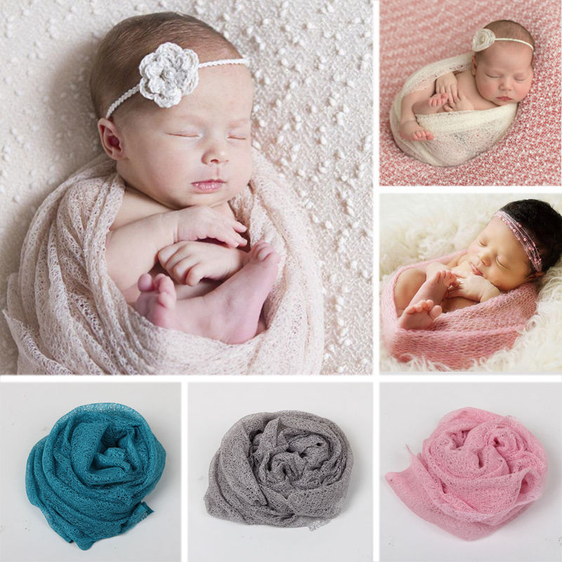 50 160cm font b Baby b font Receiving Blankets Newborn Photography Props Stretch Knit Wrap Hollow