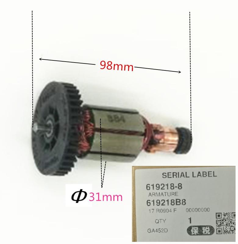 Armature Engine 619218-8 510091-8 519184-8 for MAKITA DGA452RMJ BGA452SFE BGA452RFE3 DGA452 BGA452 BGA402RFE Motor Engine 8 0