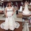 Плюс Размер Vestido Де Noivas Cap Рукава Свадебные Платья Кружева Линии Свадебные Платья Для Больших Женщин На Заказ Размеры 2017