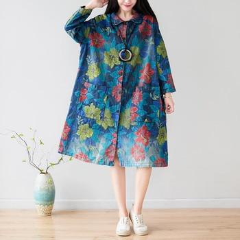 Casual Windbreaker Women Print Long Sleeves 2019 Autumn Winter Trench Coat Female Plus Size Loose Korean Fashion Dzhinsovki New