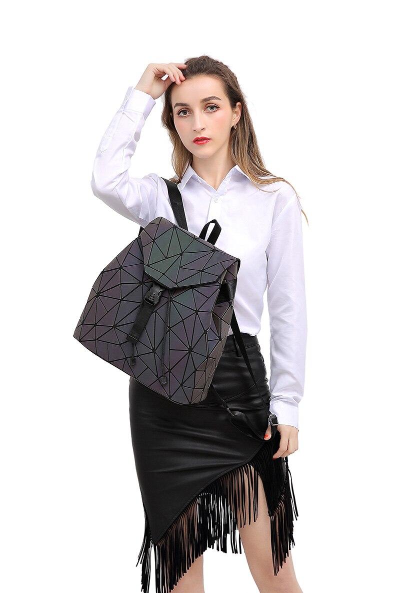 HTB1ovNzV4TpK1RjSZR0q6zEwXXan Women Backpack Luminous Geometric Plaid Sequin Female Backpacks For Teenage Girls Bagpack Drawstring Bag Holographic Backpack