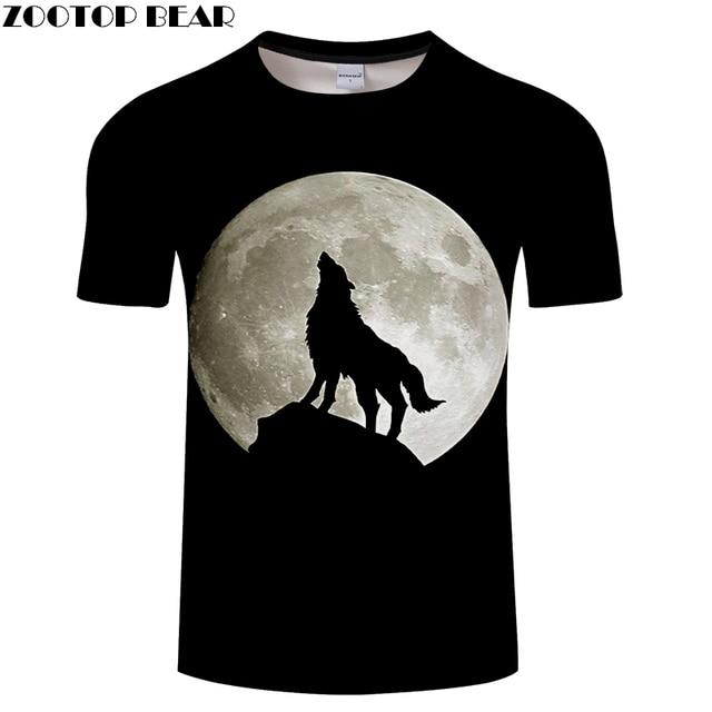 Hombres Mujeres Camiseta 3D Camiseta hombres lobo Camiseta Harajuku  streetwear Tops verano manga corta Camiseta Luna c528be59c1458
