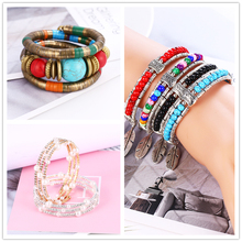 Multiple Style Silver Leaf Stone Female Vintage Bracelets&Delicate Bead Imitation Pearls Wood Charm Beautiful 2019 Women Bangle