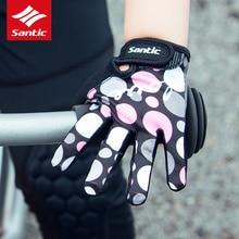 Santic Lovely Kids Sport Gloves PRO Full Finger Children's Balance Bike Gloves Breathable Shockproof Boys Girls Cycling Gloves