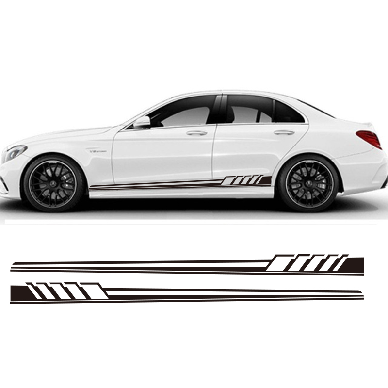 YONGXUN,2pcs Auto Side Skirt Car Sticker 507 Racing Stripe Side Body Garland for Mercedes Benz C Class W204 W205  AMG car styling auto amg sport performance edition side stripe skirt sticker for mercedes benz g63 w463 g65 vinyl decals accessories