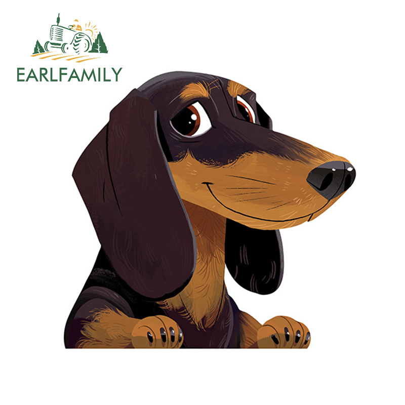 EARLFAMILY 13cm X 12.4cm Cartoon Dachshund Sticker Pet Dog Vinyl Decal Animal Car Stickers Waterproof Car Styling Accessories
