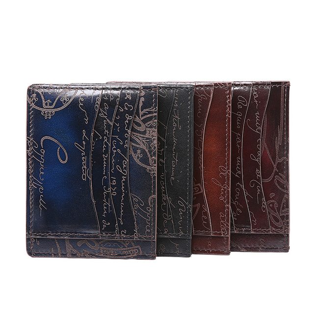 TERSE_OEM ODM service luxury handmade real leather card holder black/ coffee/ iron grey in stock engraving service