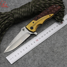 Dcbear DA77 Best Folding Knives Utility Combat Knife With Steel + Rosewood Handle Tactical Hunting Survival Knife Tools