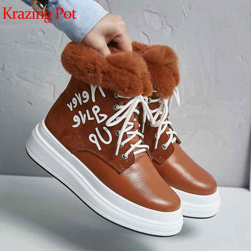 Krazing pot 2019 genuine leather round toe flat platform keep warm rabbit fur cold protection alphabet decoration snow boots L17Krazing pot 2019 genuine leather round toe flat platform keep warm rabbit fur cold protection alphabet decoration snow boots L17