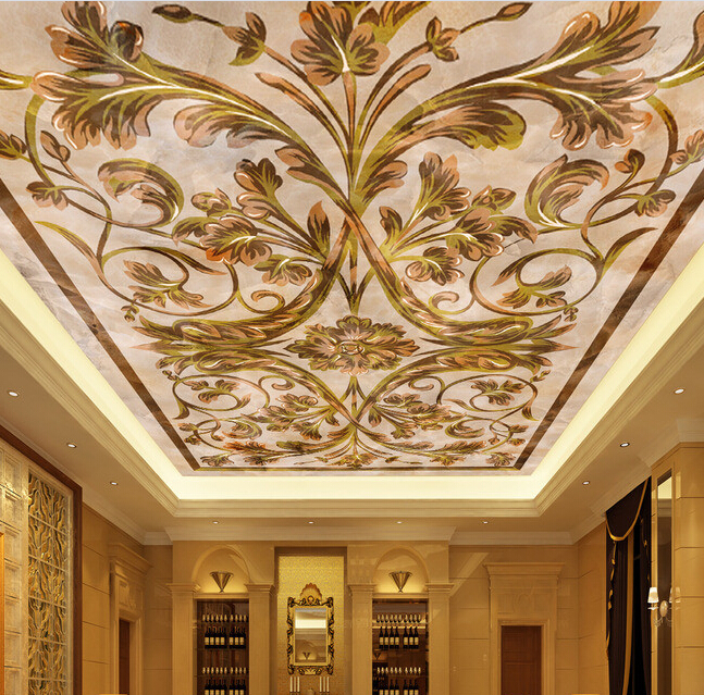 Custom wallpaper ceiling, the European parquet marble mural for the living room bedroom ceiling wall waterproof papel de parede large mural papel de parede european nostalgia abstract flower and bird wallpaper living room sofa tv wall bedroom 3d wallpaper