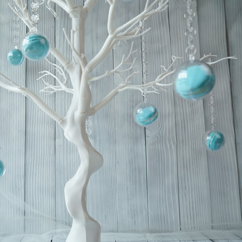 SWEETGO Wedding decoration tree white resin Simulated tree with macrons pendants for candy bar/shop window display Wishing Tree