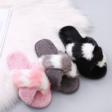 Women Home Floor Cotton Slippers Mixed Color Open-toed Casual Flats Plush Indoor Fluffy Slippers Female Shoes Cross Design Shoes diji girls soft coral velvet floor home indoor slippers quiet cotton fluffy slippers for women comfortable shoes black