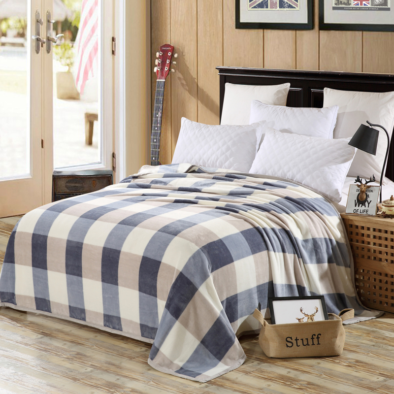 England Style Blue Lattice Pattern Bedspread Blanket High Density Soft Blanket To On For The Sofa/Bed/Car Portable Plaids